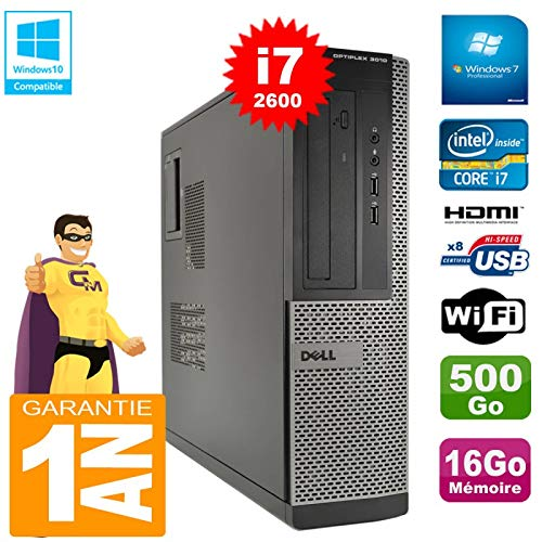Dell PC 3010 DT Core I7-2600 Ram 16Go Disque 500 Go Graveur DVD WiFi W7 (Reconditionné Grade A)