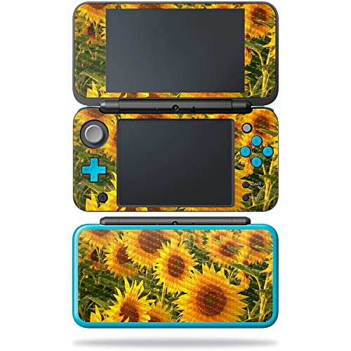 MightySkins Carbon Fiber Skin for Nintendo New 2DS XL - Geo Garden | Protective, Durable Textured Carbon Fiber Finish | Easy to Apply, Remove, and Change Styles | Made in The USA, Sun Flowers