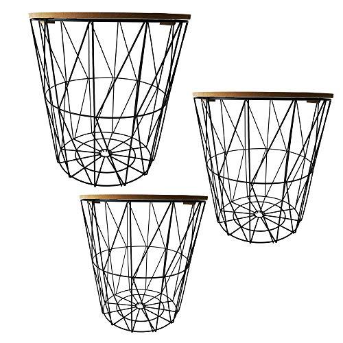Cepewa Beistelltisch 3er Set Couchtisch im Industrie Design aus Metall mit Holz Tischplatten Ø 29 cm Ø 34 cm Ø 39,5 cm (helle Tischplatten)