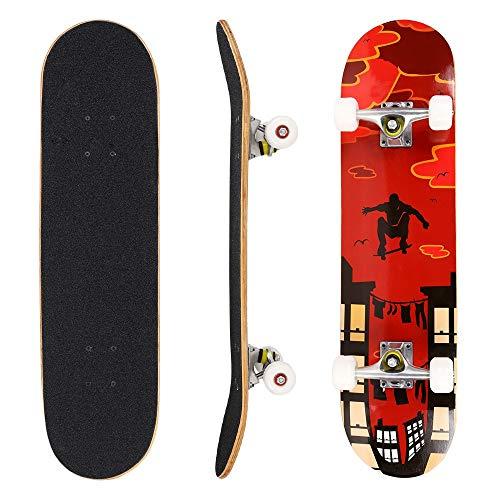 Hikole Skateboard komplett aus Holz 79 x 20 cm aus kanadischem Ahorn 31 Zoll, 85A Rollen für Anfänger Kinder und Erwachsene, colore_2