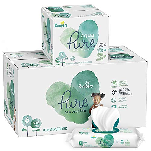 Pampers Pure Protection Diapers Size 6 108 Count with Aqua Pure 6X Pop-Top Sensitive Water Baby Wipes - 336 Count
