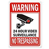24 Hour Video Surveillance Sign for House Business under 24Hr CCTV Warning Camera Security Signs for Fence Outdoor Yard Indoor Private Property No Trespassing Reflective Metal Aluminum (10 x 7 inches)