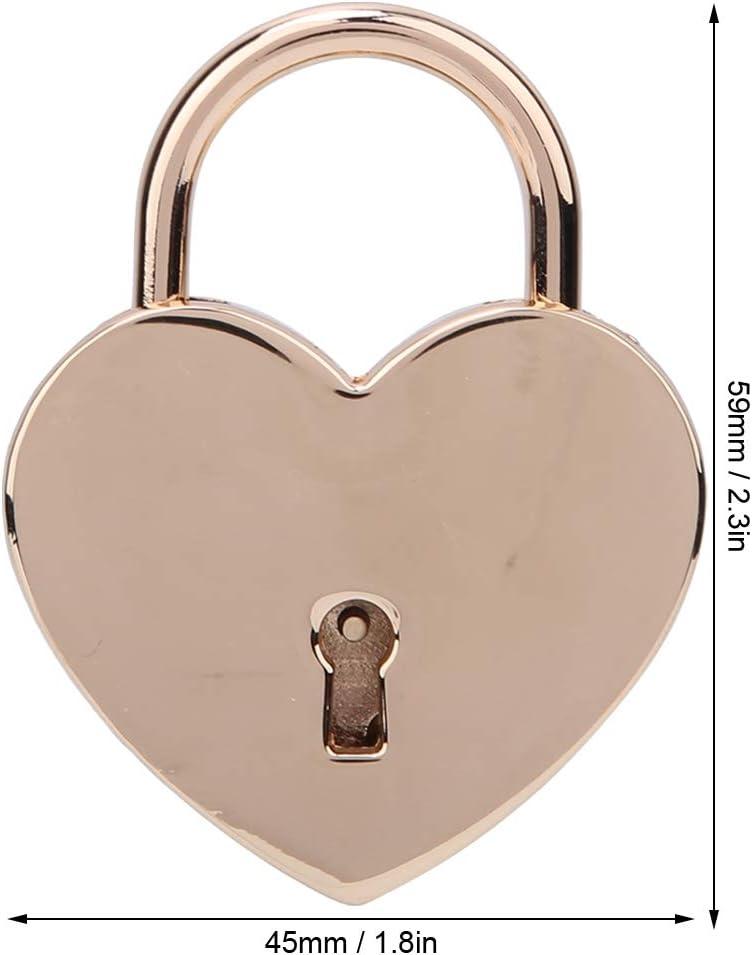 Oro Antiguo Mini candado de 1.8 x 2.3in con Llaves Cerraduras de Metal Pulido en Altura para Equipaje Bolso Diario Libro Joyero HEEPDD 1pcs Candado en Forma de coraz/ón