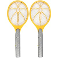 com-four® 2X Matamoscas electrónico - Asesino de Insectos - Trampa para Moscas en Forma de Raqueta (02 Piezas - Amarillo)