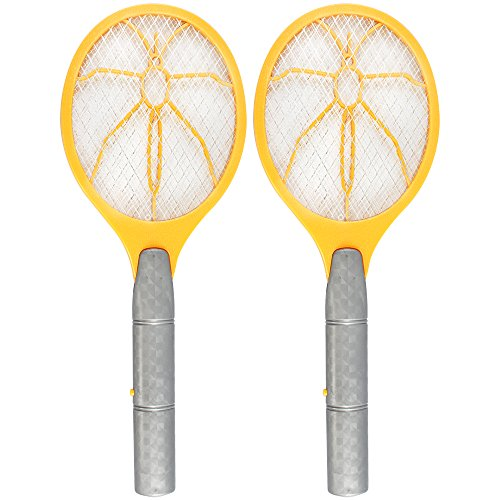 com-four® 2X Elektronische Fliegenklatsche - Insektenvernichter - Fliegenfalle in Schläger-Form (02 Stück - gelb)