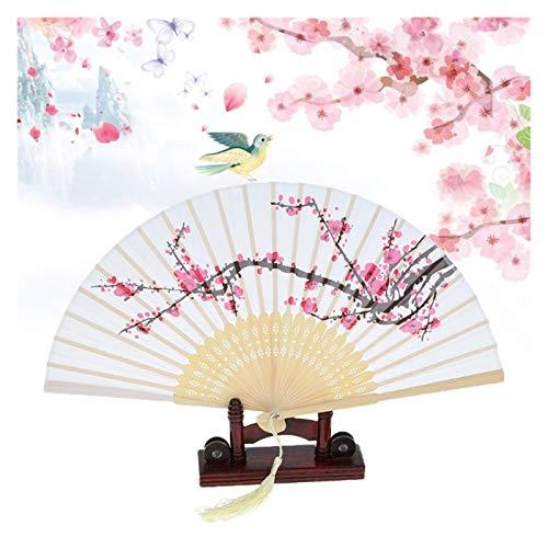 YONGYONGMY Abanico Plegable Verano Vintage Chino fanático Plegable Plum Flor Tassel Seda...