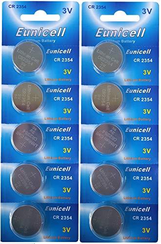 Eunicell 10 x CR2354 ohne Vertiefungsrille 3V Lithium Knopfzelle (2 Blistercard a 5 Batterien) EINWEG