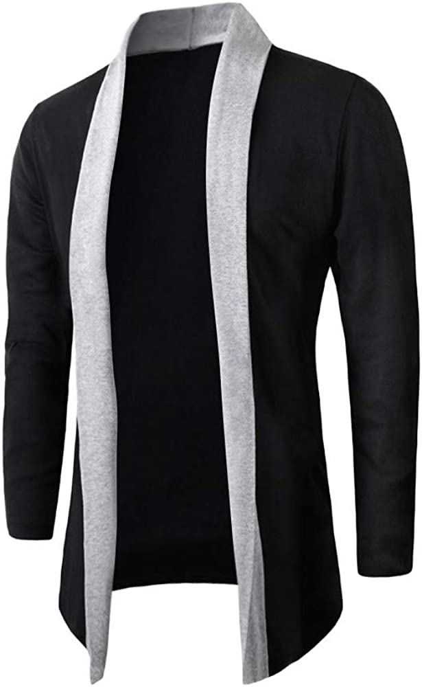 Cardigan for Men Big and Tall, Mens Long Sleeve Draped Lightweight Open Front Shawl Collar Longline Cardigan Sweater