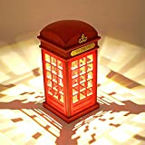 Lampe de chevet,Style Vintage Cabine Téléphonique de Londres Vintage USB Charge(Avec batterie),Luminosité Réglable capteur tactile,Chambre Etudiants Dortoir Eclairage Bar Décoration Salon Décor.