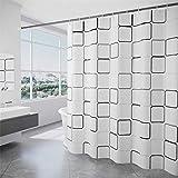SUUZQK Badezimmer-Duschvorhang Aus Polyestertuch Mit Hakenverdicktem Wasserdichtem Schwarz-Weiß-Gitter-Duschvorhang 260x200cm(WxH)