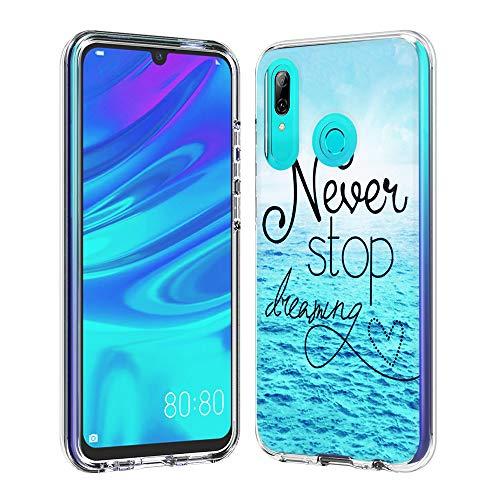 Funda para Huawei P Smart 2019, Carcasa Transparente con Exquisito Patrón Premium Ultra-Delgado Flexible Suave Silicona TPU y Dura PC 2in1 Híbrida de Doble Bumper Anti-Choque - Océano Azul