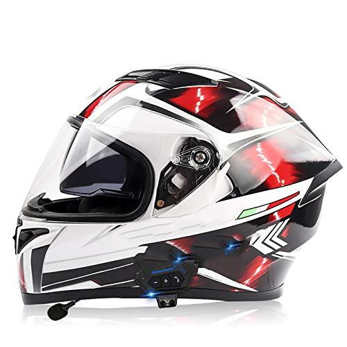 NBMNN Casco de Motocicleta Integrado Bluetooth,Cascos Modulares de Moto de Visera Doble con Anti-vaho Visera Completa para Hombres y Mujeres Adultos Certificacion Dot C,L=56~57CM