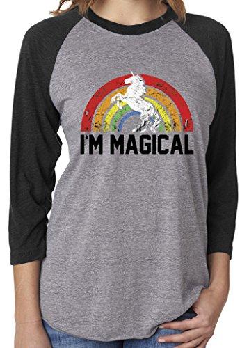 SoRock Unisex I'm Magical Rainbow Unicorn 3/4 Sleeve Tri Blend Tshirt Medium Heather Grey