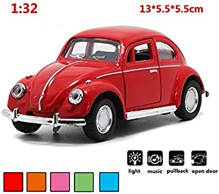 Classic 1967 Volkswagen Vw Classic Beetle Bug Vintage 1/32 Scale Diecast Metal Pull Back With sound and light Car Model Toy For Gift/Kids (RED)