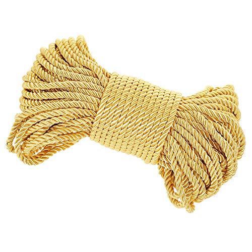 PandaHall Cordón trenzado dorado, 27 yardas de 6 mm de hilo trenzado para manualidades, proyectos escolares, decoración del hogar, alzapaños de cortina, cordón de honor, tapicería