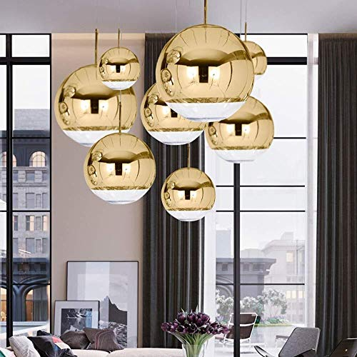 Candelabro Lámpara de bola de cristal de burbuja simple moderna Lámpara de techo LED de una sola cabeza Luz cálida Decoración del hogar Restaurante Comedor Escaleras (Color:Dorado, Tama?o:Diámetro 20