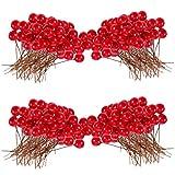 NA bayas, 200 piezas de 10 mm de bayas artificiales para decoración del árbol de Navidad guirnalda de bricolaje manualidades