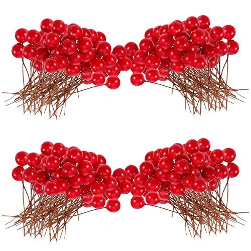 N\A Bacche artificiali, 200 pezzi, 10 mm, per decorazioni per albero di Natale, ghirlande fai da te