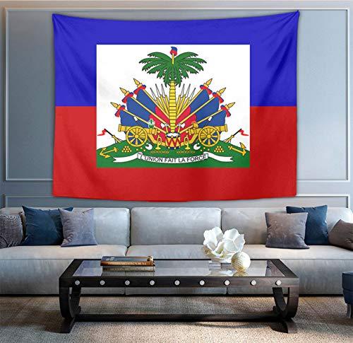 NiYoung Haiti Flagge Tapisserie Wandbehang Decke Tagesdecke Strandtücher Fenstervorhang Picknickmatte Wandteppich Wandkunst Dekoration für Schlafzimmer Wohnzimmer Wohnheim 152,4 x 203,2 cm