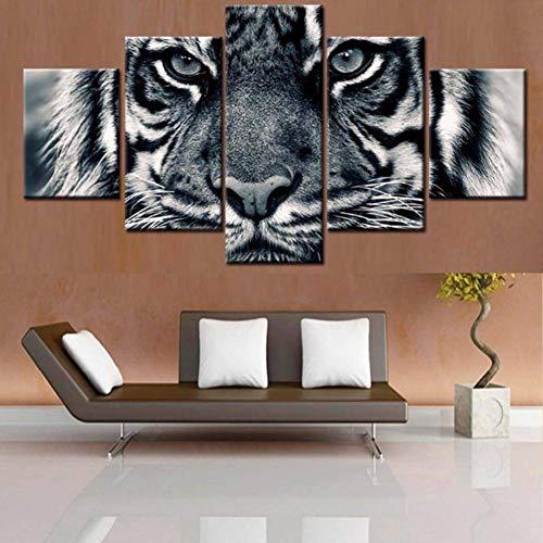 KQURNXSL modulaire afbeelding muurkunst decoratie woonkamer 5 platen tijger HD gedrukt poster frame schilderij modern dier op canvas