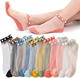 10 Paar - Kristall Tüll Perle Sommersocken - Perle durchsichtige Socken, Sommer ultradünne Spitze kurze Socken, Nylon elastische kurze Knöchelstrümpfe für Frauen