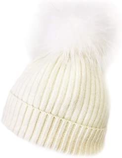 New White Hat with White Pom Pom - Genuine Fur…HA62