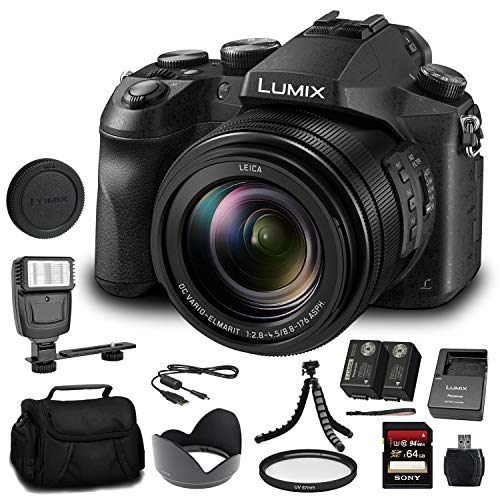 Panasonic Lumix DMC-FZ2500 Digital Camera (DMC-FZ2500) - Bundle - with 64GB Memory Card + DMW-BLC12 Battery + Digital Flash + Soft Bag + 12 Inch Flexible Tripod + Cleaning Set + More