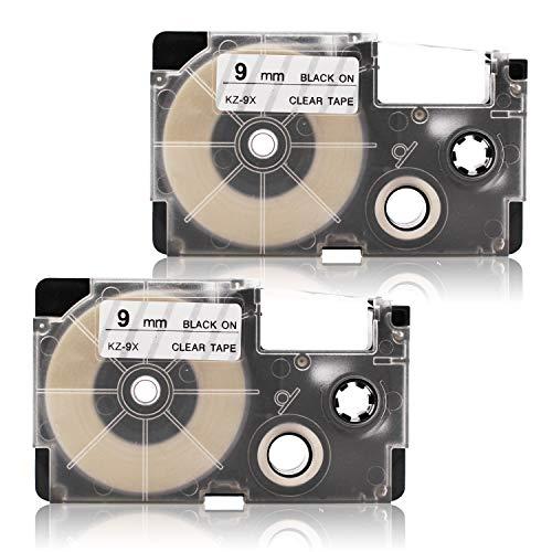 2x Labelwell 9mm x 8m Compatible Cintas de Etiqueta Reemplazo para Casio XR-9X XR-9X1 Negro sobre Transparent para Casio KL-60 KL-120 KL-820 KL-60SR KL-70e KL-100e 100 200 200E KL-300 KL-780 Impresora
