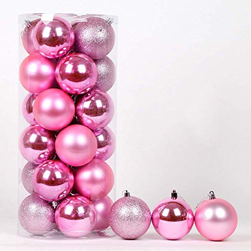 LIUSHI 24ct Christmas Ball Ornaments Shatterproof Christmas Decorations Tree Balls Small for Holiday Wedding Party Decoration-Pink 4cm(1.57in)