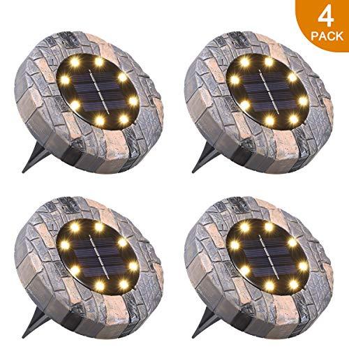 Solarleuchte Boden Tomshine, Boden Solarlampe 10 LED s Wasserdicht Bodenleuchte außen für Garten,Hof【4 Stück Warmweiß】