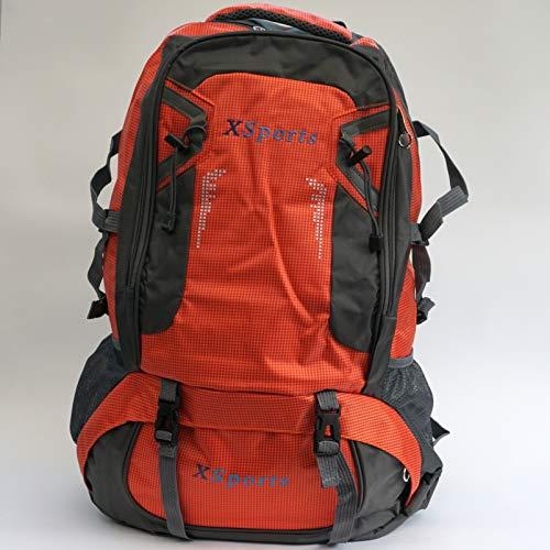 xsports 60L Mens Women Waterproof Rucksack Hiking Camping Bag Tactical Backpack - Orange