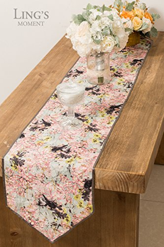 Ling's moment Floral Table Runner12 x72 Inch for Boho Vintage Wooldand Greenery Wedding Bridal Shower Table Top Decorations (Wrinkle-Free, Machine Washable)