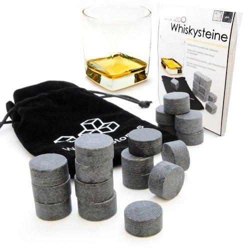 """18er SET Whisky-Steine aus natürlichem Speckstein (rund) für Getränke""""on the rocks"""", Kühlsteine im praktischen Stoffbeutel - Marke Ganzoo"""