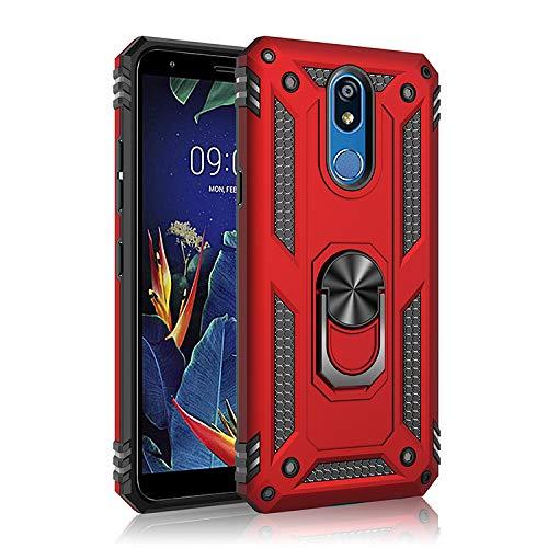 BestST LG K40 Hülle, für LG K40 Schutzhülle 360 Grad Drehbar Ringhalter mit Magnetischer Handyhalter Auto Handy hülle + Panzerglas Bildschirmschutz - Rot