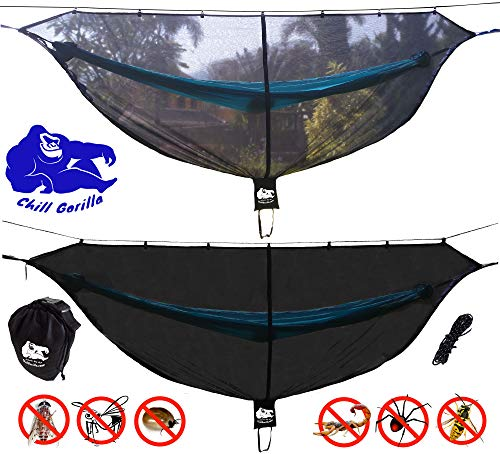 Chill Gorilla Defender Hammock Mosquito Net Stops All Bugs & Insects. Fast Easy Setup. Compact,...