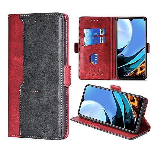 FiiMoo Funda Compatible con Xiaomi Redmi 9T, Carcasa de Cuero PU Premium [Ranura para Tarjetas] [Cierre Magnético] [Función de Soporte] Cover Protectora para Xiaomi Redmi 9T -Rojo