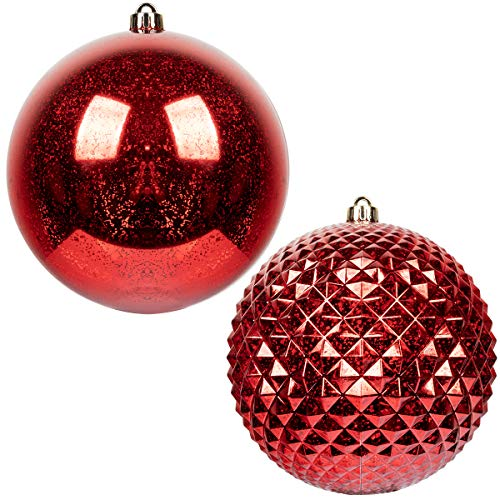 KI Store Huge Christmas Balls Red 8-Inch 2pcs Extra Large Decorative Hanging Ornaments Shatterproof Vintage Mercury Balls for Xmas Decorations