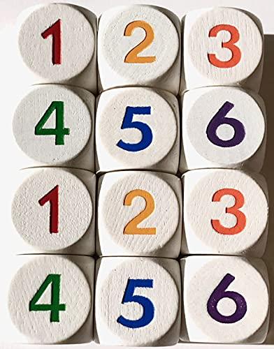 Dados de números 1 – 6 de madera para juegos de mesa o como dados matemáticos para cálcular, 16 mm (12 dados, color blanco con números de colores diferentes)