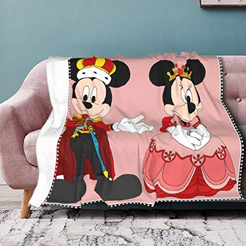 Kuritian King-Mickey Mouse-Minnie Throw Blanket with Pompom Fringe,Lightweight Cozy Bed Blanket Soft Warm Fit Couch Sofa Suitable Perfect Throw for All Season-60 X50