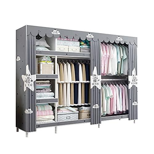 LICHUAN Armario de tela portátil armario de almacenamiento de armario portátil organizador de armario portátil de armario organizador de almacenamiento con barra para colgar
