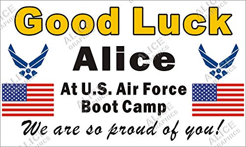 """Alice Graphics 28"""" X 46"""" Custom Personalized US Air Force Going Away Goodbye Farewell Deployment Party Banner Sign - Good Luck at U.S. Air Force Boot Camp"""