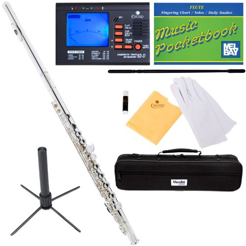 Mendini Silver Closed Hole C Flute with Tuner,...