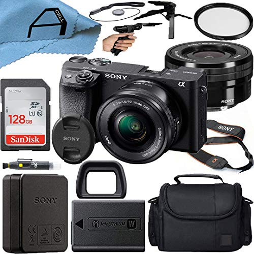 Sony Alpha a6400 Mirrorless Digital Camera 24.2MP Sensor with 16-50mm Lens, SanDisk 128GB Memory Card, Case, Tripod and A-Cell Accessory Bundle (Black)