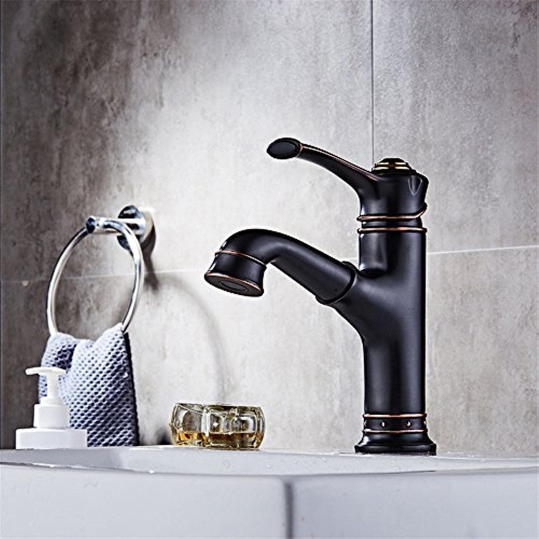 Home Tap schwarz Bronze antiken Wasserhahn heien und kalten Becken schwarzen Wasserhahn Waschbecken Wasserhahn flachen Mund Wasserfall Wasserhahn