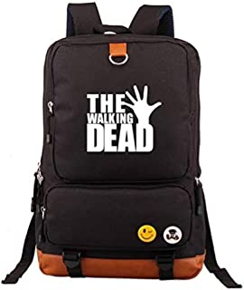 Luminous School Bag Daypack Book Bag Laptop Bag Mochila para The Walking Dead Cosplay (Negro 1) @ Black_2