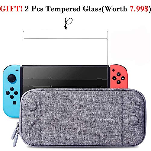 Slim Case and 2Pack Tempered Glass Screen Protector for Nintendo Switch - Protective Travel Carrying Case with 10 Game Cartridges, Hard Shell Pouch for Nintendo Switch Console and Accessories