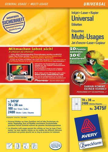Avery Zweckform Universal-Etiketten 70 x 36 mm; 100 Blatt weiß Aktion: Fußballpunkte sammeln