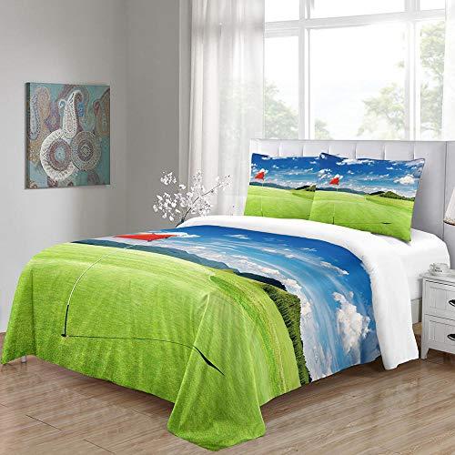 Påslakan Setgolf kurs tryckt sängkläder påslakan med blixtlåsstängning, ultramjukt mikrofiber-sängkläder (King)
