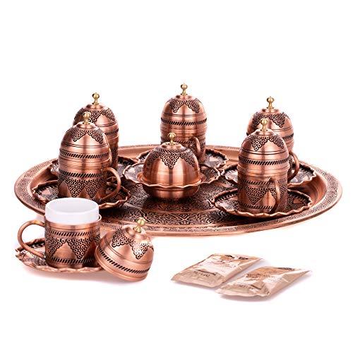 Juego de tazas de café turco con tapa, plato de servicio y...