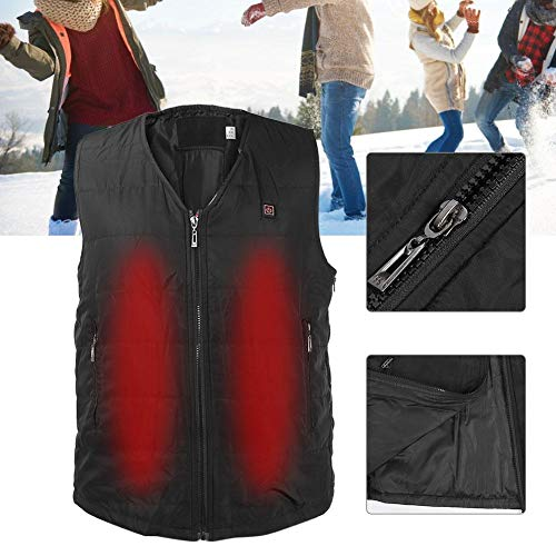 Hot Vest Electric Vest V-Neck Cold Wear Solid Color No Collar USB Power Supply 3 Stage Temperature 2 Size Fall / Winter Thermal Warm Heated Clothes Bike Fishing Ski Golf Unisex(SizeA)